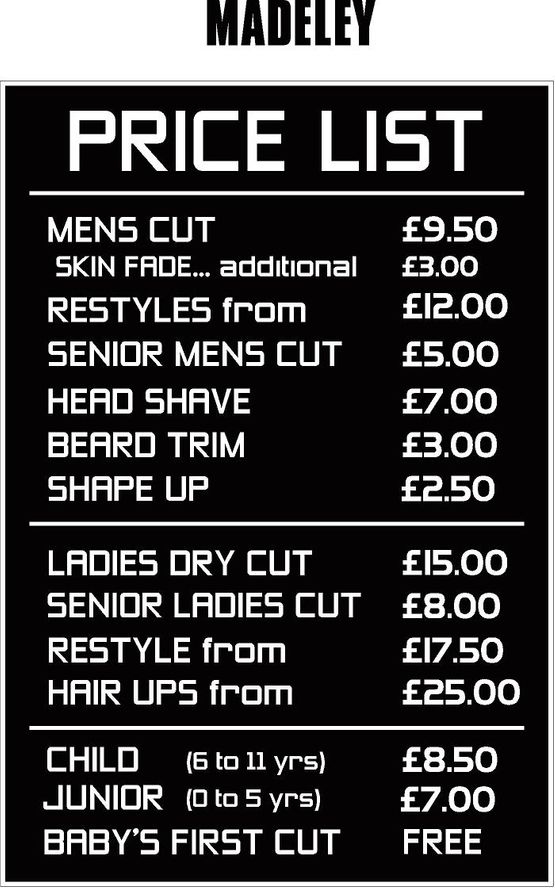 Madeley price list